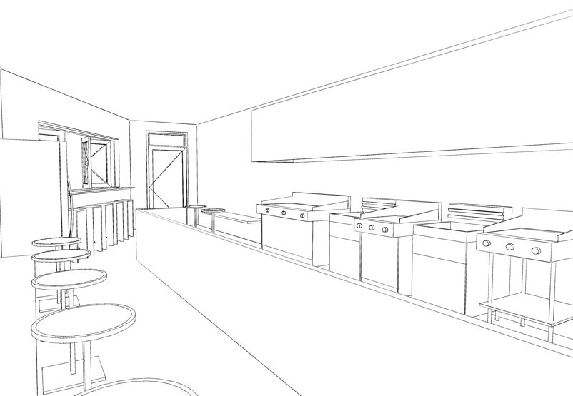 restaurant design concept drawing
